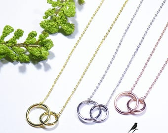 Plain Double Eternity Circle Necklace 925 Silver Yellow Rose Gold