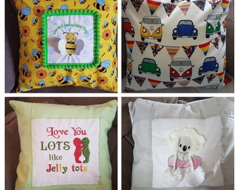 Various cushion designs - Bee, Camper, Koala, Jelly tots + more