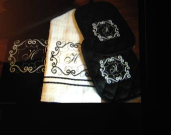 Embroidered 5 pc kitchen towel set