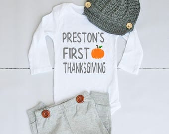 1st Thanksgiving Outfit with Name - Thanksgiving Outfit for Baby Boy - Thanksgiving Onesie® for Baby Boy - Baby's First Thanksgiving Outfit