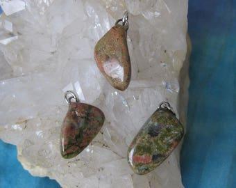 Unakite Pendant, Unakite, Unakite Tumbled Pendant, Unakite Jewelry, Unakite Charm, Natural Unakite, Unakite Crystal Pendant