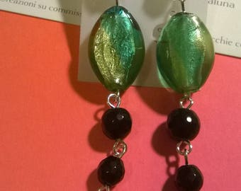 Murano glass earrings and Onyx