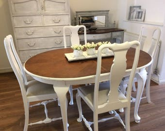 Queen Anne Style Dining Table and Six Chairs