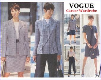 Vogue Career Wardrobe Sewing Pattern - Vogue 1728 - Misses' Jacket, Dress, Top, Skirt, Pants, Suit - Size 14 16 18 - Bust 36 38 40 - UNCUT
