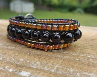 3x wrap beaded leather wrap bracelet