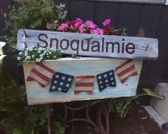 Reclaimed wood burned sign (This one is for tht small historic town of Snoqualmie, wa)