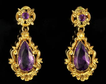 Antique Victorian 18ct Gold Amethyst Drop Earrings Circa 1900