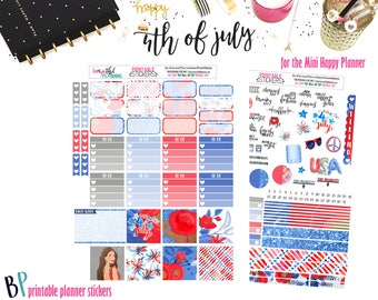 4th of July Weekly Printable Kit // Mini Happy Planner // Printable Planner Stickers // Cut Line Files  / Planner Stickers