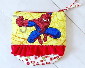 SUMMER SALE Spider-Man ruffled zipper pouch coin purse credit card pouch