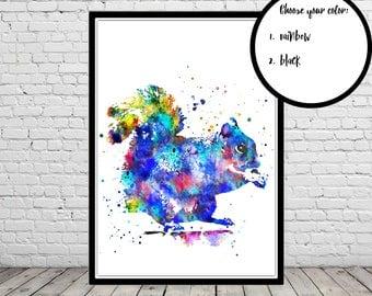 Squirrel, watercolor squirrel, squirrel print, watercolor print, wall decor, kids room decor, poster, print (2851b)
