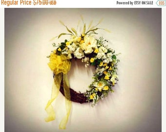 ON SALE Cream and Yellow Floral Door Wreath Yellow Home Decor Yellow Wreath for Wall Decorative Wreath For Door Rose Bud Wreath Anniversary