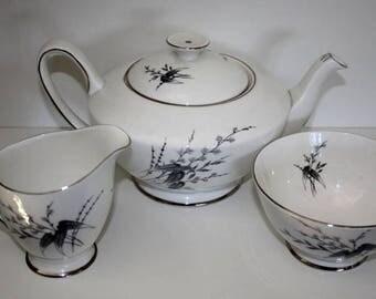 Vintage Tea set, collectable tea set, British china, bone china teapot, Royal Standard, Giselle Teapot, giselle creamer and sugar bowl.