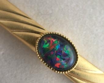 Opal Tie Bar, 18k Gold Plated Tie Clip, Triplet Australian Opal, Blue Opal, Rainbow Opal, Petite Opal, Opal Brooch, Gold Plated