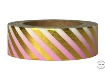 Foil Washi Tape STRIPES pink gold