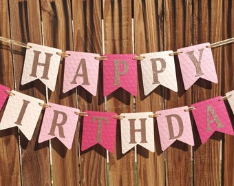 Birthday Banner, Pink and Gold Birthday, Pink and Gold Birthday Banner, 1st Birthday Banner, Pink Girl Birthday Banner