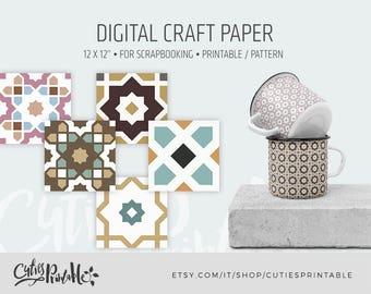 Moroccan Patterns - Instant Download - Set of 5+5 Paper - 1500x1500 pixel 300dpi - Digital Paper Pack - Scrapbook, Card making