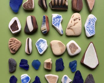 Beach pottery and sea glass mix , sea glass pieces , sea pottery , Scottish sea glass , Scottish beach glass , mosaic pieces