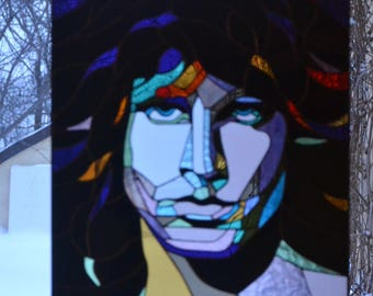 Jim Morrison Stained glass panel Tiffany method. Pop art. Suncatcher. Stained glass window hanging. Glass painting Decor. Rock star