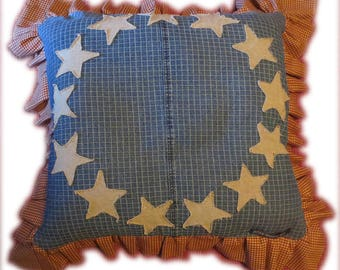 "Handmade AMERICANA GIANT PILLOW ~ ""Betsy Ross"" ~ Denim / Gingham / Linen ~ Red, White & Blue"