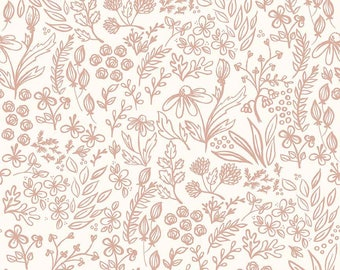 SALE Yes Please Main Cream and Rose Gold SPARKLE - Riley Blake Designs - Floral Flowers - Quilting Cotton Fabric - choose your cut