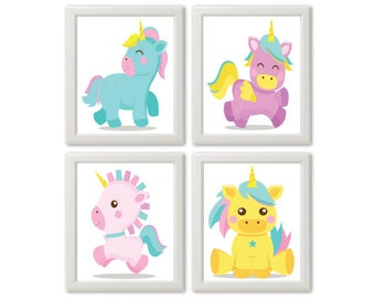 Unicorns baby room wall art Unicorns kid's room wall art Nursery wall decor Nursery wall art Nursery prints Nursery posters Unicorn posters