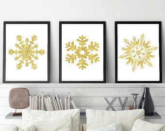 Snowflakes Printable Posters Gold Snowflakes prints Christmas decoration set Christmas posters Gold Christmas print Set of Christmas posters