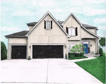 8 x 10 Custom House Home Portrait from Your Photo Watercolor Pencil Painting Drawing