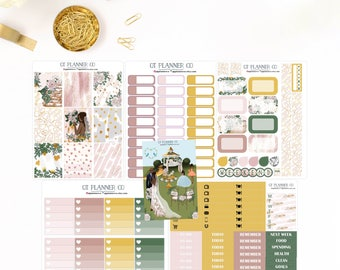 Garden Wedding Collection Planner Stickers for use with your Erin Condren Life Planner, African American, Dark Skin, Bride, Groom, Girl