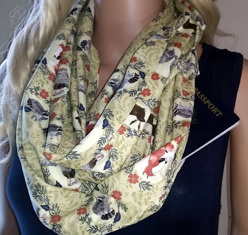 Infinity scarf with hidden pocket travel scarf ladies scarves for Travel scarf