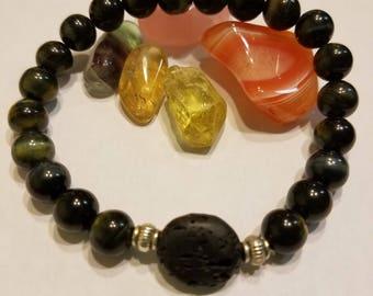 Tigers Eye essential oil diffusing bracelet
