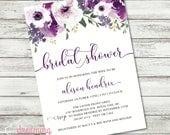 Purple / Plum Garden Floral Bridal Shower / Wedding Shower Invitation