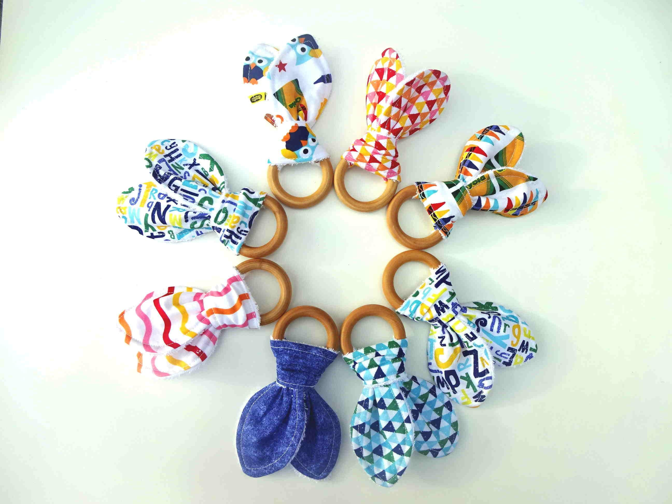 BABY TEETHER WOODEN Ring Teether for Baby All Natural Teething