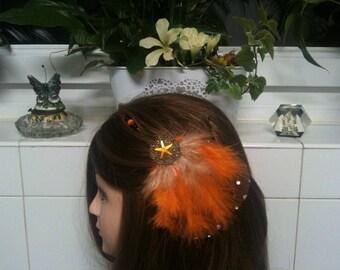 Headband shabby bronze,orange and brown feather,orange star/serre tete en chaine,plume orange, etoile strassstrass