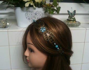 chain shabby headband bronze,bleu facette flower,Turquoise stone beads/serre tete shabby pierre turquoise ,perles pierre naturelle turquoise