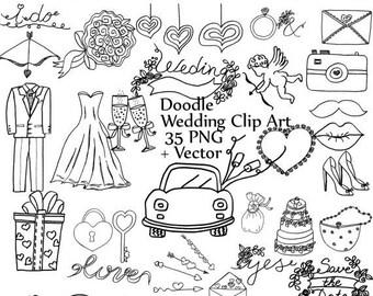 "40%SALE Doodle wedding clipart: ""WEDDING CLIP Art"" wedding dress tuxedo clipart diy clipart wedding graphics cake shoes car camera ring vect"