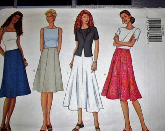 Butterick pattern, B3134, misses skirt, A-line or flared skirt, below mid knee, lower calf length, sz: 8, 10, 12