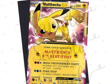 Personalised GAMES Birthday Invitation - inspired by Pokémon/Pokemon Card