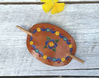 Leather hair pin, pony tail holder, leather hair accessory, hippie barrette, leather barrette, hippie hair piece, folk, flower child, gypsy