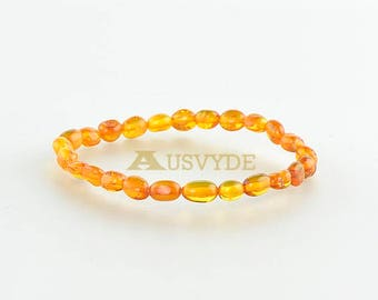 Baltic amber bracelet, Cognac amber color, Plums beads, Natural amber jewelry