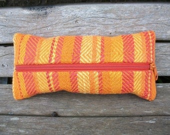 handwoven pencil cases for pens and trifles, orange yellow red, pumpkin, linen cotton, to organize in a handbag, ooak