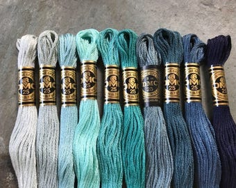DMC Pearl Cotton Floss #25, Green/Blue/Teal Color Pack, Needlepoint Threads, Crewel, Embroidery, Perle Cotton, Sale .40 each
