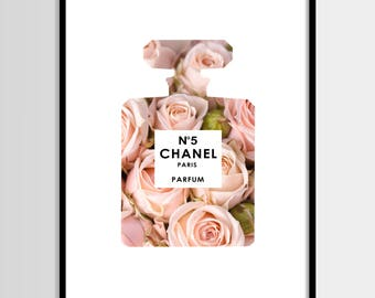 Chanel print, Modern print, Fashion art, Coco Chanel, Perfume, Flowers art, Digital art, Printable art, Digital poster Instant Download 8x10