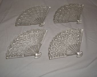 Anchor Hocking Fan shaped Daisy Button Sandwich plates