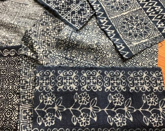 Indigo Hmong Batik Scrap - 1 Lot