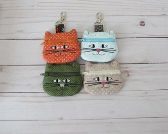 Cat Coin Purse, Cat Keychain, Cat Lover Gift, Cat Zippered Bag, Cat Earbud Pouch, Kitty Pouch, Embroidered Cat Change Purse
