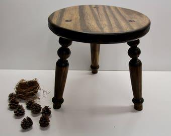 Wood Sitting Stool Shaker Style 3 Legged Milking Stool HandMade Walnut Finish Stool & 3 legged stool   Etsy islam-shia.org