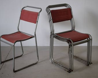Vintage Industrial Stacking Canvas Chairs