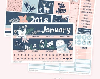 JANUARY Monthly View Planner Sticker Set | Fits ECLP or Classic Happy Planner