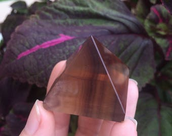 Multi-Color Striped Fluorite Pyramid (56g)