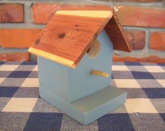 Pine Birdhouse - Decorative, Blue - Porch, Deck, Garden